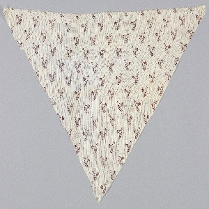 """White fabric in a printed design showing a dark red rooster and """"1876."""""""