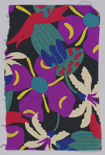 Black with vibrant stylized flowers in purple, white, green and red.