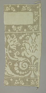 Fragment of a wide border with large symmetrical flowers and scrolling vines. Top and bottom sections have an acorn and leaf motif.