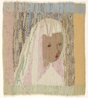 Hanging woven in shades of pink, orange, blue, brown and cream, depicting three-quarter view of a girl's face.