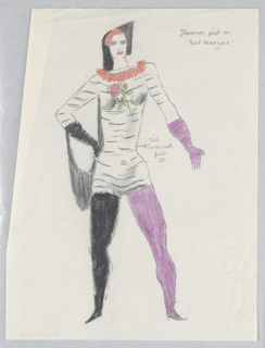 """Costume design for a Glamour Girl or Bal Masque for """"Dashing Blades"""". Standing figure facing frontally wearing a tight tunic shirt with a rose at at the breast, a coral collar, and one black and one purple stocking."""