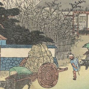 Three bullock carts, one with bales of rice, the others with charcoal (?), come down street toward teahouse. Left, teahouse in front of which is fountain. Center, pine trees and green hill outlined in distance.