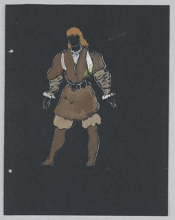 "Costume design for a messenger in Shakespeare's ""Othello"". Standing figure with orange hair drawn frontally in puffed, slashed sleeves, a short jacket, and ruffled pantaloons, in brown. On verso, a similar figure in rose-colored doublet and blue pantaloons and hose."