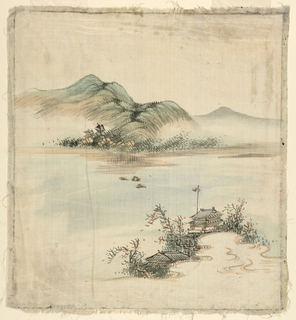 Painting, Landscape with house on a lake