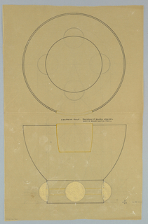"""Round flaring bowl drawn in plan and elevation, upper center with applied square panel indicated in yellow pencil to be executed in veermeil. Raised on a short circular base decorated with embedded golf balls on four sides and a central inlaid band indicated in yellow color pencil to be executed in vermeil. Underdrawing in graphite of bowl in golden section. Puiforcat collection contains archival photograph of cup, Box 9, Folder 19, """"Cups, 9000 series,"""" # 9119. Puiforcat Fabrication #: 9119, Coupe forme boule 4 boules ivoire avec applique relief"""