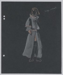 Costume design for Iago's cloak in Shakespeare's Othello. Walking figure is turned to the right, his head turned back over his right shoulder with hands in pockets. The figure wears a long gray coat trimmed in pink and white cross-stitch at collar, cuffs, and belt. At the left edge of the page, three holes for loose-leaf binder.