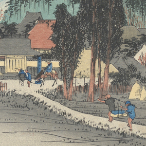 Left, village temple among trees at base of hill. Beyond are summits of another range of hills. Porters pass along road towards left. Right, two men working in rice fields.