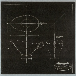 Vertical rectangle. One of four designs for tableware; intedned to be executed in plastic. Gravy boat. On black paper, white gravy boat designs: elevation, top view, and section, with annotations of dimensions and on lower right design: SECTION A-A AND / APPROXIMATION OF / CONTOURS. In oval stamp, some printed and some handwritten text: date 4/21/58; scale ACTUAL; dwg. title GRAVY BOAT; job no. 1354; dwg. no. 4; for BOONTON MOLDING Co.; revised; drawn by DFL; aprvd. by BK; at center printed: BELLE KOGAN ASSOCIATES / 145 East 35th St. New York, N. Y.