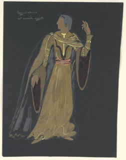 Costume design for Othello for Shakespeare's Othello (possibly an alternative choice). Standing figure, gesturing with his left hand raised above his head, head turned to his right, wearing a flowing gold robe with angel sleeves with fur cuffs and lined in red.