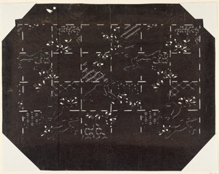 This quilted square pattern has abstract motifs suggesting it is one layer of a multi stenciled design. Within the patches show traditional sashiko patterns that have deep rooted meanings. There are jagged silhouettes that resemble a bird motif.