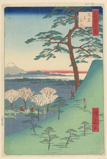 This scene depicts people sitting under the blossoming cherry trees, contemplating life, and enjoying nature's wonders. Two people took a walk and are getting a better view of Mount Fuji from a higher altitude. This is a typical landscape view by Hiroshige, who is excellent at recreating beautiful landscapes of Japan.