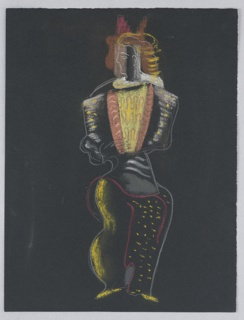 "Costume design for Ariel (possibly) of Shakespeare's ""The Tempest"". A standing figure, abstractly rendered, head shown in left profile and wearing a bright yellow and orange shirt and dotted trousers."