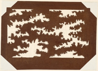 Tree tops are carved out suggesting that the pattern works in both inversely as well. Silk threads are added to support the structure of the threads.