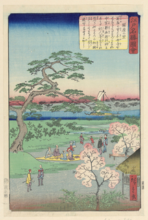 A springtime print shows brilliant cherry blossoms and various people enjoying nature. Some elders sit on a yellow blanket, watching children play, and others chat. A lone boat in the background hides behind a branch from the ancient pine tree.