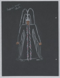 "Costume design for Prospero for Shakespeare's ""The Tempest"". At center, a standing figure in a great cloak and large feathered headdress; herringbone pattern down front of tunic, all drawn in white outline. On verso, outline sketch of a figure in doublet and hose."
