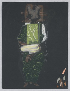 "Costume design for Ariel (possibly) of Shakespeare's ""The Tempest"". A standing figure, abstractly rendered, with an animal-like head turned in left profile, robed in green-leaf patterned garment. Samples of paint colors, lower right."