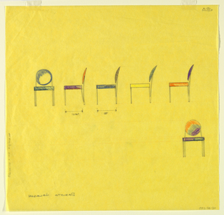 Six studies for chairs with round backs shown in elevation view. Some have colored seats.