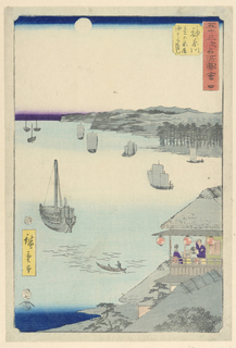 This print is an overall muted scene of the sea. The ships on the water sail with ease as the moon shines light above. The otherwise muted pallet highlights the right side depicting a little restaurant. Three red lanterns and two purple figures draw our attention inwards towards the table where the two men are accompanied by a woman and are all enjoying the view.
