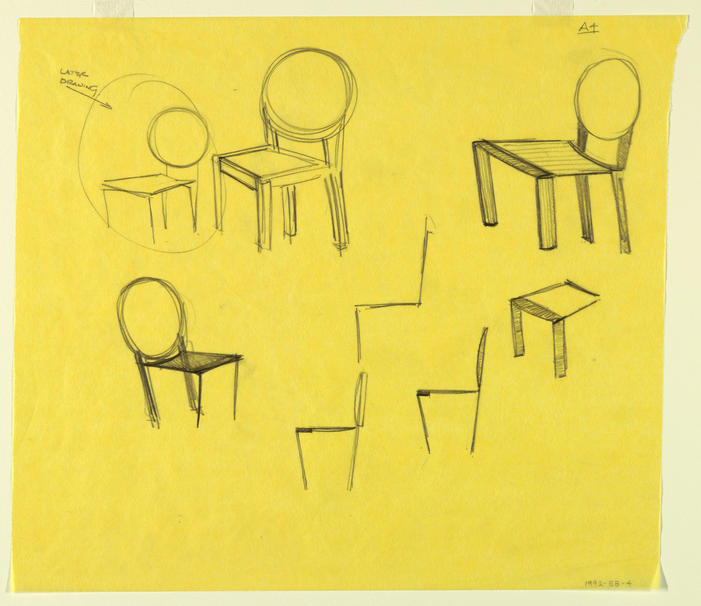 """Side elevation and descriptive drawings of chair; at upper left, chair is circles with """"Later Drawing"""" noted."""