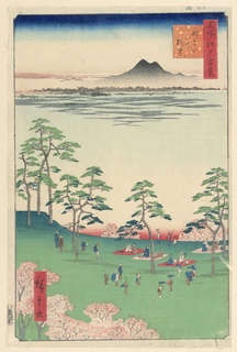 This spring scene shows many visitors celebrating the cherry blossoms by picnicking on blankets and admiring the pink petals. The background just below the silhouette of Mt. Tsubuka is a rice paddy. The light grey shadows suggest young rice plants growing. This scene depicts land that will eventually become Japan's first public park.