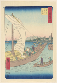 This ferry boat is at full capacity with passengers and other goods. Alongside them is a smaller rowboat with two fishermen whose attention is focused on the fully loaded ship.