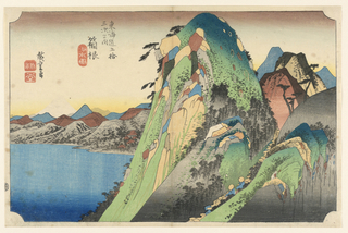 In between the arduous mountains in Hakone is a scant passageway where feudal lords trek with large luggage and broad hats. In contrast to the vibrate mountains, the view of Mount Fuji depicted in white. In the middle of the print are tiny brown rooftops of the Hakone shrine looking out onto lake Ashinoko.