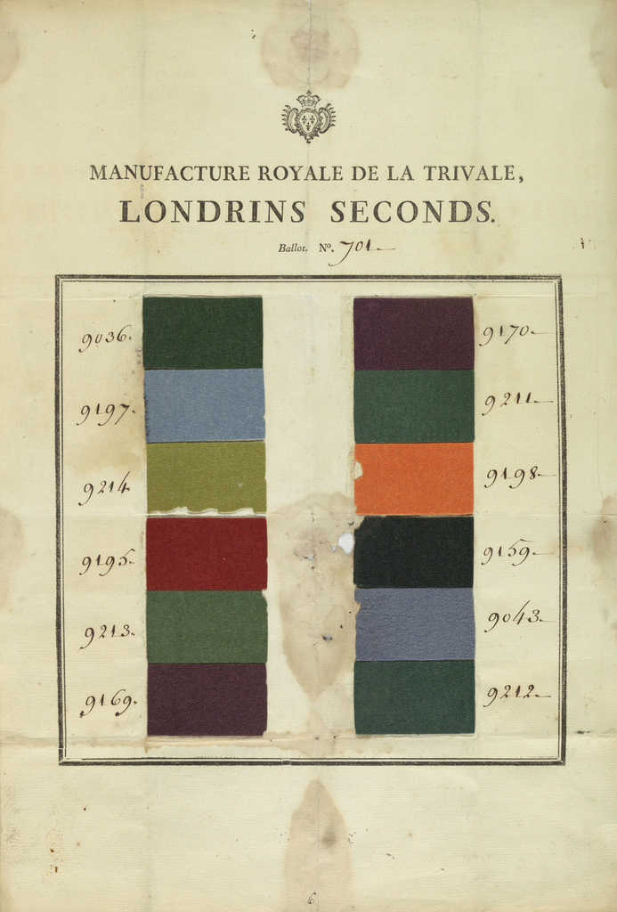 Sheet of paper pasted with a double row of twelve samples of fulled woolen cloth in greens, purples, blues, orange, red and black. Intended for export to the eastern Mediterranean region.