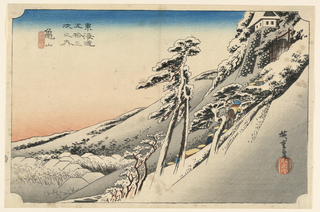 Snow scene. Right, steep hillsides, snow-laden trees and a procession climbing up to castle. Lower, village. Left, rose-colored glow.