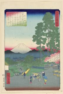 This scene depicts two aristocrats are being carried down the trail towards another town closure to Mount Fuji. Surrounding them are attends ready to beckon on their every hope and need. The juxtaposition of the cherry blossom and famous snow-covered mountain creates an imaginary scene.
