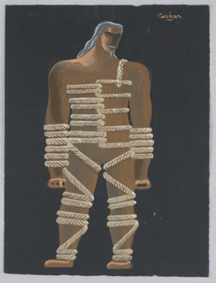 "Costume design for Caliban of Shakespeare's ""The Tempest"". The standing figure of Caliban is shown frontally, with legs hips-distance apart and arms straight down at his side. Ropes are wrapped around the figures torso, arms and legs. The figure looks down over his left shoulder, and has gray-black hair."