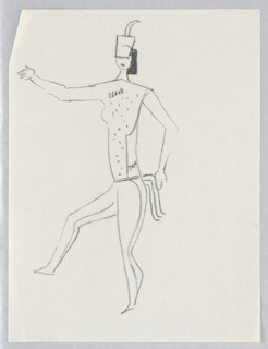 """Costume design for the Antelope Ballet of """"Dashing Blades"""". Dancing figure seen in left profile wearing a belt with streamers and a dotted blouse inscribed """"black"""" and """"tan."""" A single horn on the figure's headdress."""