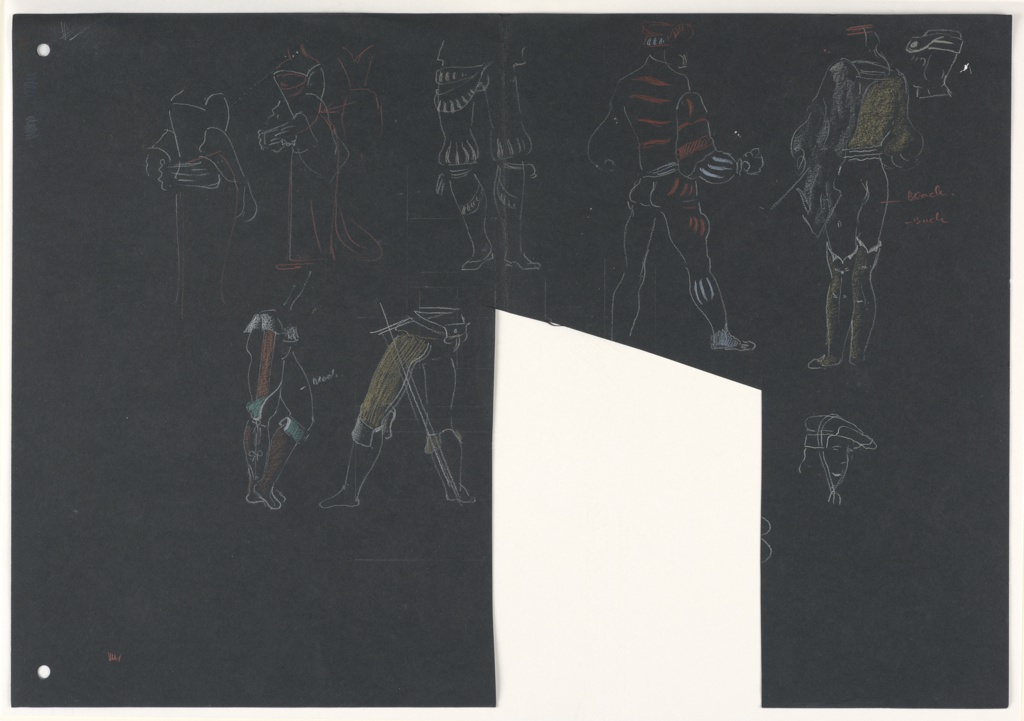 "Nine studies of costume design for Shakespeare's ""Othello"" in two rows. Top row, from left to right: a female figure drawn from head down in outline wearing a flowing tunic, a similar female figure drawn from head down in outline in a flowing tunic and details of the bodice indicated in red, a pair of men's legs shown frontally, a full-figured male character shown behind in red and white outline, a full-figured male character shown from behind in yellow and white outline, a head with headcovering shown in profile. Bottom row, from left to right: a pair of legs facing right with the left leg crossed in front of the right, a pair of legs facing left with legs spread apart, an irreular shape cut out of the page (now designated as 1963-39-201-b), a head depicted in three-quarter view turned to the right with a head covering."