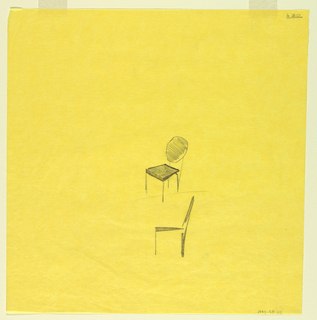Two studies for chairs with round backs shown in elevation and oblique view.