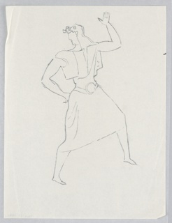 """Costume design for a dancing figure, for """"Dashing Blades"""". Dancing figure seen in right profile, head turned left, wearing a full skirt with a belt and large buckle, a short best, left open, and animal-skin headdress."""