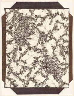 A design of clumps of juniper branches and leaves with scattered berries of varying sizes is created by cutting away most of the ground leaving the positive of the design.  The interstices of the design are supported by silk thread.