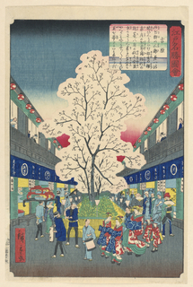 This brilliant street scene of Edo is decorated with a blooming cherry blossom. Celebrating all around the base of the tree is a parade of people dressed in traditional clothing. All the storefronts are open with their signs and lit with lanterns.