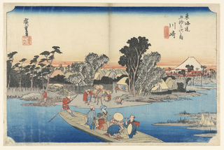 Five passengers and the man rowing the boat are sailing across the Tama River. The shoreline of Kawasaki shows other merchants and the sort waiting to board the boat. On the left side is a lone man wearing red, standing on a large pile of bamboo. Behind the figures are the tops of buildings and houses. Far into the background is Mt. Fuji on the right side, surrounded by streaks of red clouds it's the base.