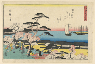 This spring scene shows a traditional spring weekend of people enjoying the cherry blossoms. Viewers sit on blankets and stand beneath the blooming branches as they enjoy nature and look out onto the ocean. Hiroshige creates a linear distinction using blocks of color, a red horizon, a stripe of blue ocean, the black rooftops, and yellow clouds that hover just above the green grass.