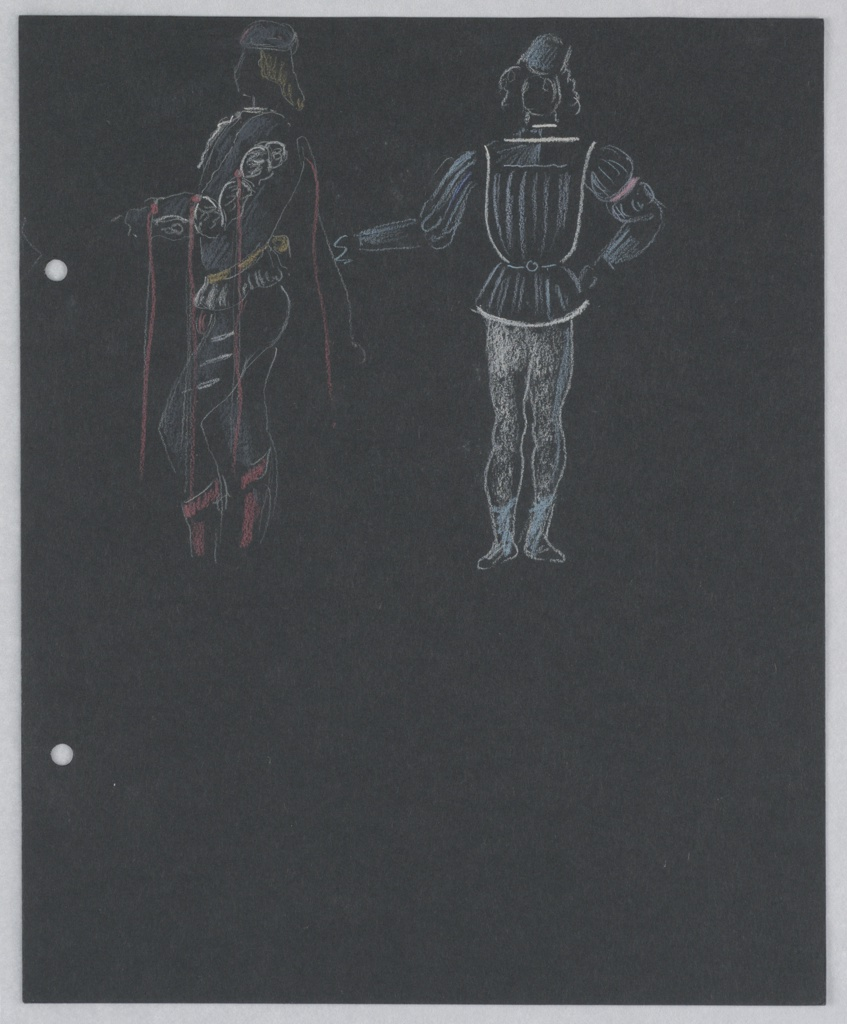 """Drawing, Costume Design: Heralds, for """"Othello"""""""