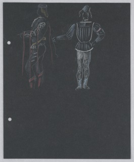 "Costume design for hearlds in Shakespeare's ""Othello"". At top of page, two standing figures in in doublets and hose. The figure on the left is shown in profile facing left, details of his costume accented with red and yellow. The figure to the right is drawn in white and shown frontally with his left hand on his hip and right hand held out to his side away from his body. At the left edge of the page, two holes for loose-leaf binder."