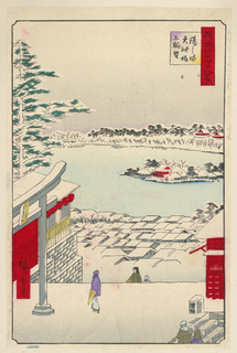 The bird's eye view of Yushima Tenjin Shrine is looking out over the Shinobazu Pond. The snow-covered scene is highlighted with bright red buildings on either side, as well as a few other temples off in the distance. A bright purple figure stands in the middle of the foreground, holding a closed parasol by her waist. Other figures are ascending the staircases around her as they all head towards the main sanctuary of the shrine.