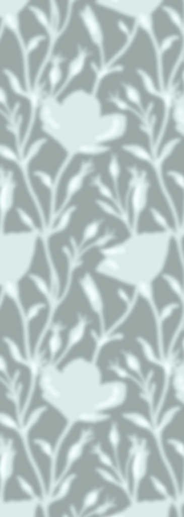 A very soft-focus continuous pattern of branches with leaves, in shades of pale blue.