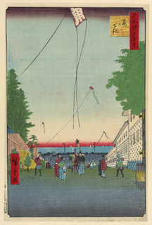 A gathering of people admiring kites soring in the air decorates the lower half of this print. However, upon further inspection, the center group of men is looking downward. The geometric composition of this playful print highlights the horizon in a brilliant red ombre effect.