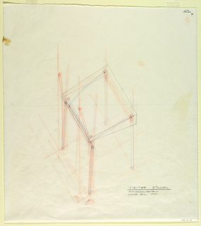 Study of chair in axonometric view showing measured revisions for production.