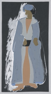 "Costume design for Shakespeare's ""Othello"". Standing figure, head turned to the left, wearing a long gray and blue cape over a buff-colored undergarment, and a blue headcovering."