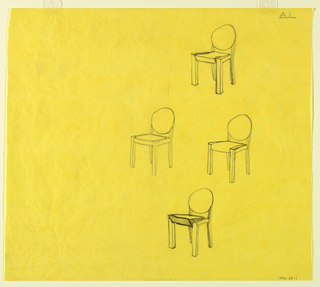 Drawing of four chairs with a round back, on a yellow ground.