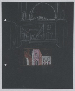 At center, a street scene with a row of buildings overlooking a square with steps is depicted in white outlines. Above, also in white outline is a detail of an archway with a bridge in the center. Below, a detail of the street scene in color. At top, two holes, left, for loose-leaf binder.