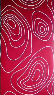 White irregular circular motifs on a deep red background.  This design was inspired by the isobar, which is a line on a chart or map used to indicate weather patterns or barometric readings.