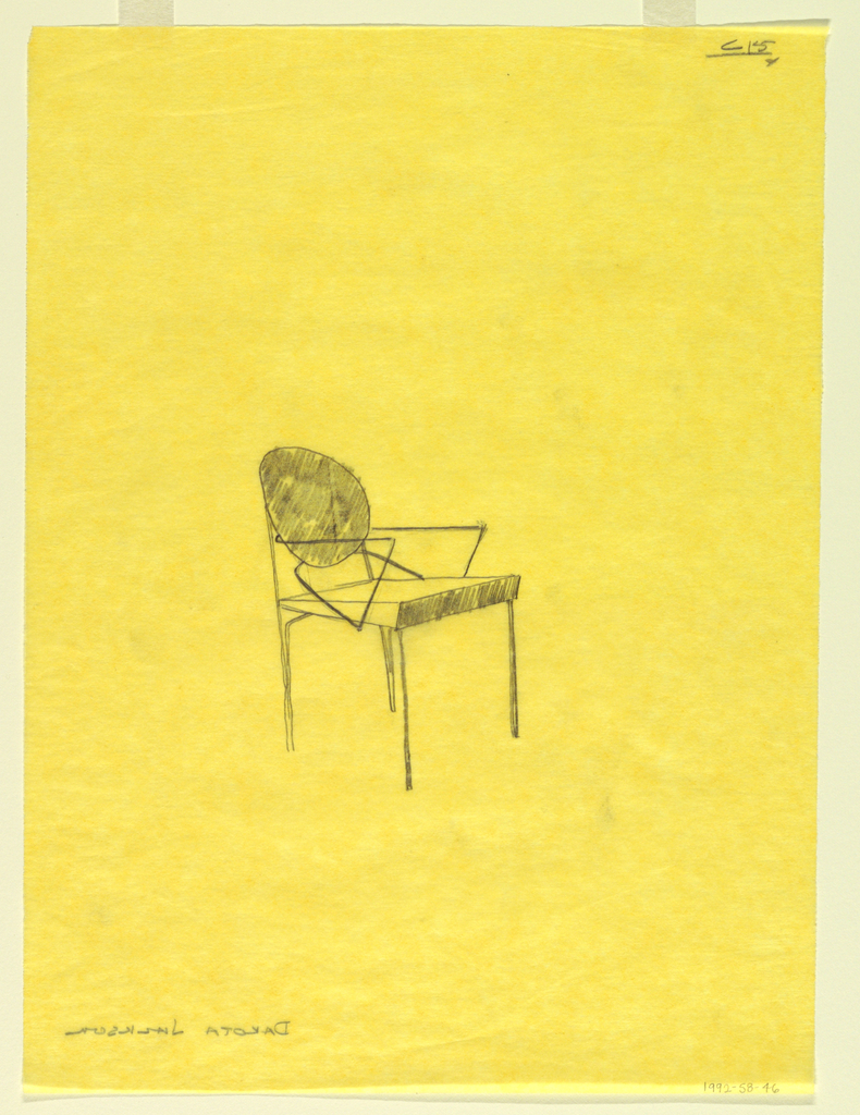 Study for a single chair at center of page.