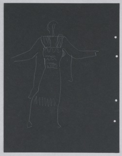 "Costume design study for Ariel (possibly) of Shakespeare's ""The Tempest"". A standing figure in archaic Greek dress, seen in right profile, arms raised away from the body. Figure lightly sketched. Four holes, right, for loose-leaf binder. On verso, a colossal head on a flight of steps."